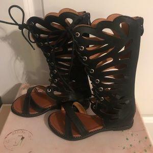 Little Girls  Black Gladiator Sandals